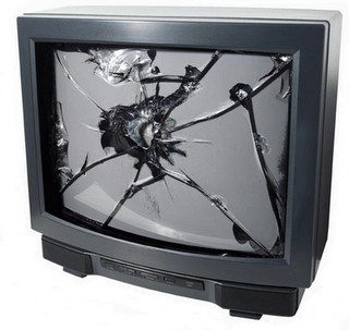 a broken TV that needs recycled