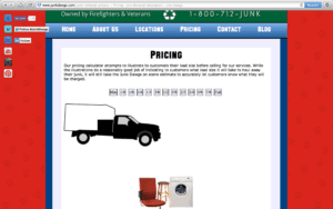A screenshot of Junk Dawg's Pricing Page explaining junk removal estimates.