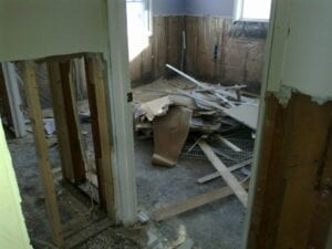 a picture of remodeling debris