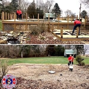 Before and After Picture of Deck Demolition Indianapolis