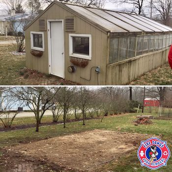 Before and After picture of Greenhouse Removal Indianapolis