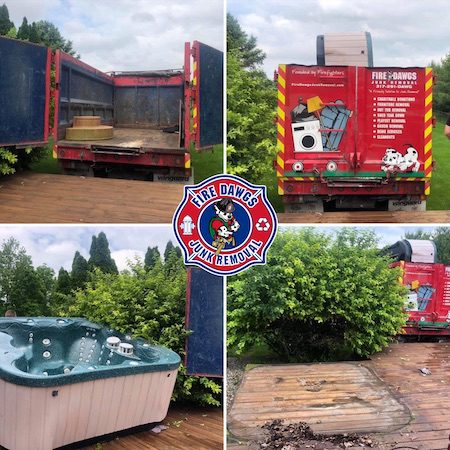 A before and after picture of Hot Tub Removal in Plainfield IN