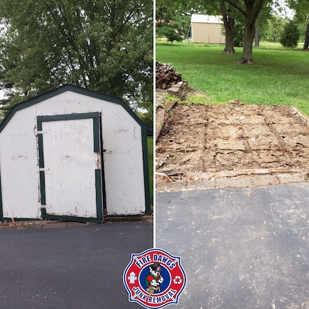 Before and After Picture of Shed Removal Lafayette IN