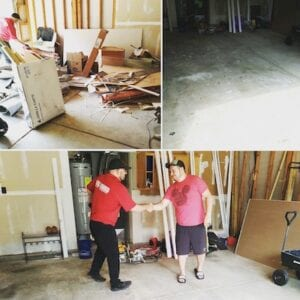 before and after picture of household junk removal in noblesville