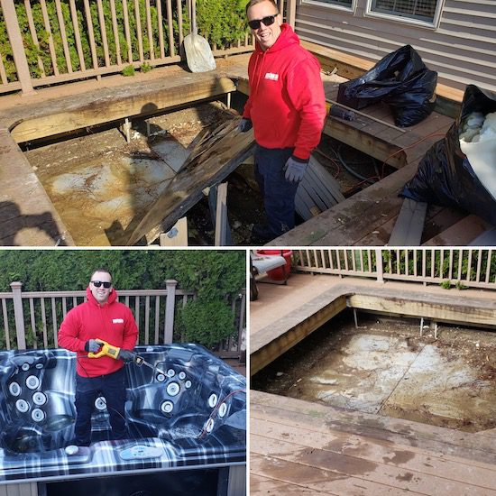 before and after picture of hot tub removal fort wayne