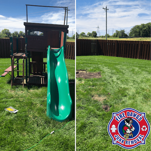 swing set removal fishers before and after picture