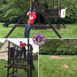 Before and After Picture of Swing Set Removal in Fort Wayne