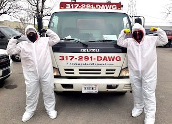 Fire Dawgs Junk Removal Indianapolis in Tyvek Suits
