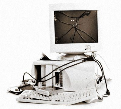 Image of computer being recycled