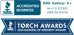 Images of BBB A+ rating and BBB Torch award