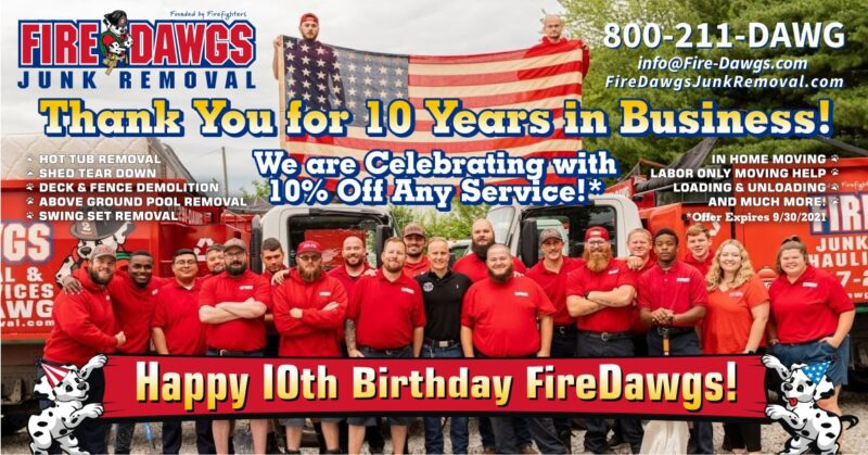 fire dawgs junk removal 10 years in business
